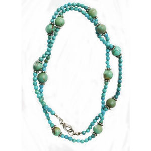 "TURQUOISE/STERLING SILVER 22"" LONG BEADED NECKLACE"